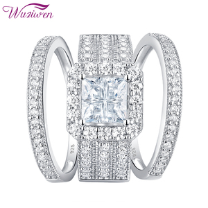Image 3 - Wuziwen Halo חתונת טבעת סט לנשים 3Pcs מודגש 925 סטרלינג כסף אירוסין טבעות צלב נסיכה לחתוך זירקון קלאסי תכשיטים