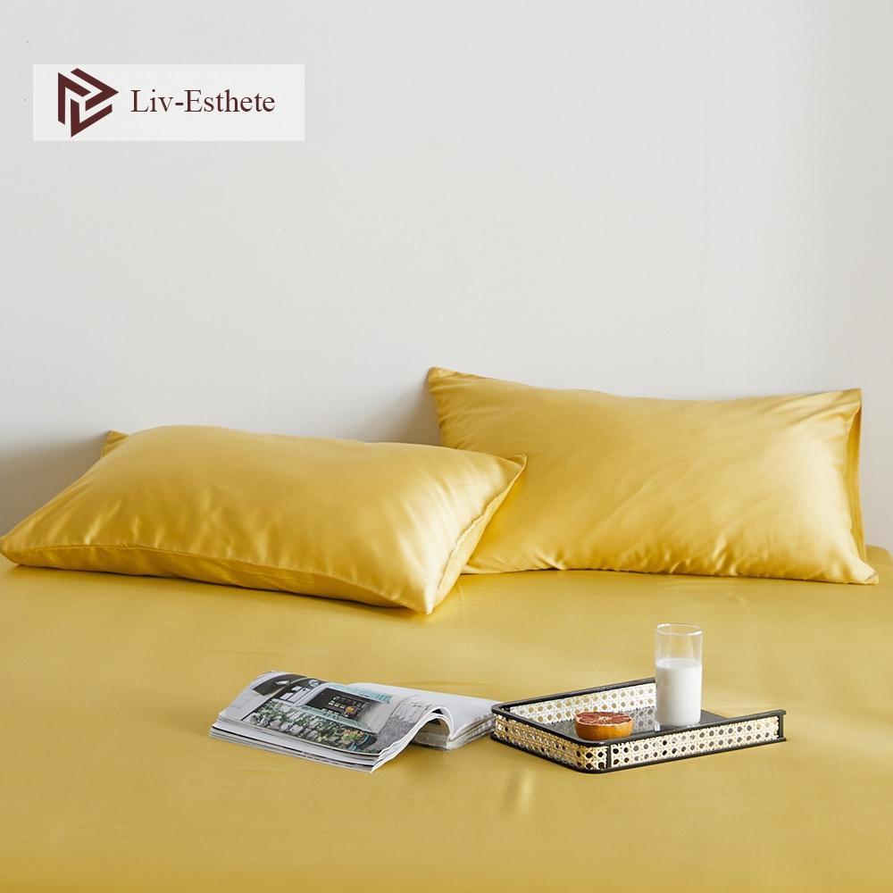 Liv-Esthete Luxury Noble Yellow 100% Silk Women Men Pillowcase Nature 25 Momme Silk Healthy Standard Pillow Case Free Shipping