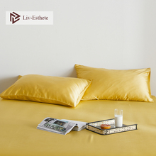 Liv-Esthete Luxury Noble Yellow 100% Silk Women Men Pillowcase Nature 25 Momme Silk Healthy Standard Pillow Case Free Shipping