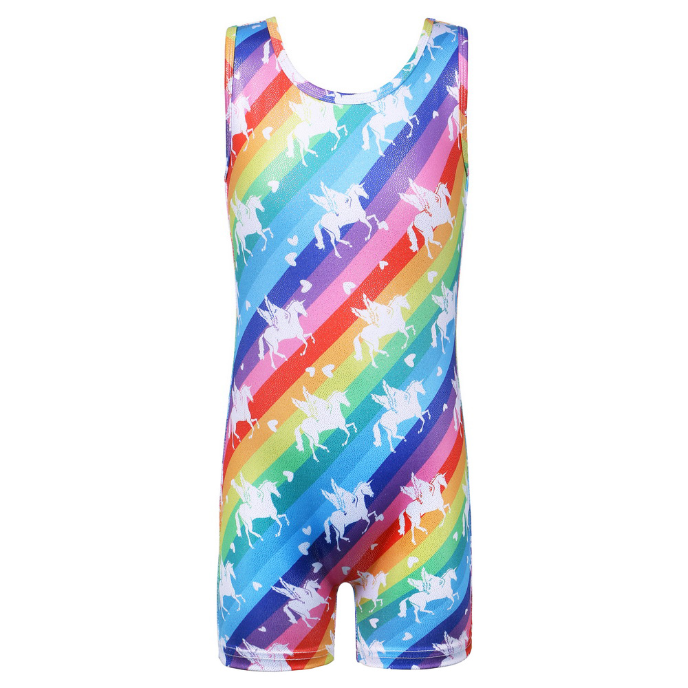 BAOHULU 3-13 Years Girls Leotards For Dance Rainbow Sleeveless Gymnastic Leotards For Girls Ballet Dance Costumes For Kids
