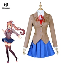 цена на ROLECOS Doki Doki Literature Club Monika Cosplay Sayori Yuri Natsuki Cosplay Costume School Uniform Girl Women Costume Game Cos