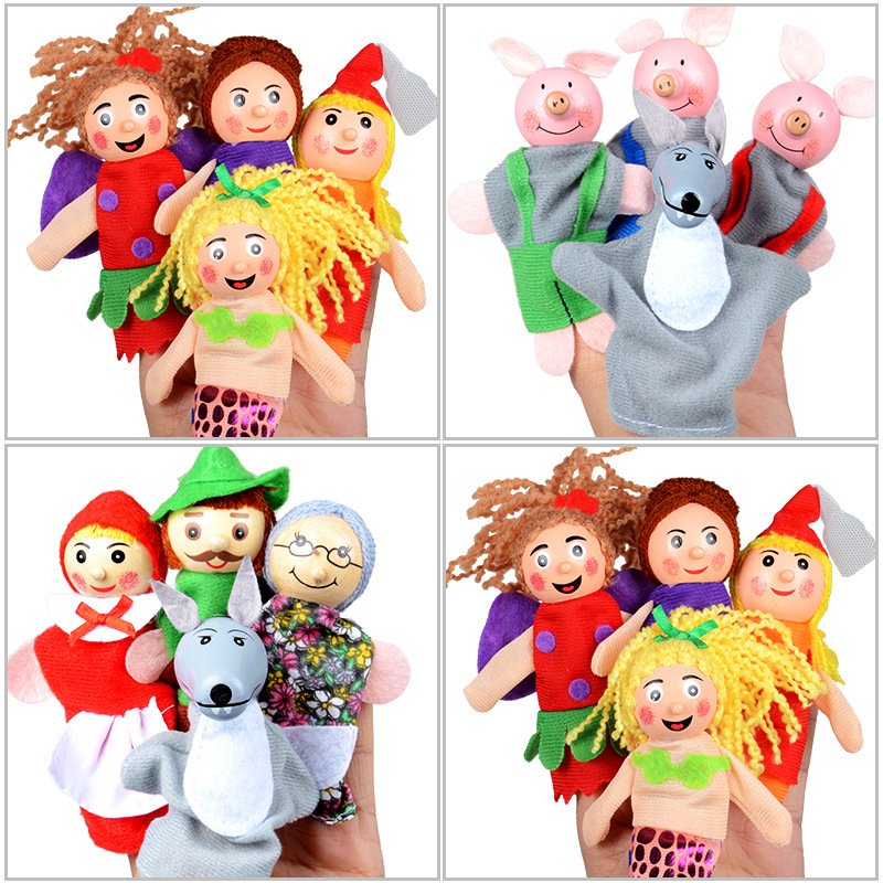 Fairy Tale Three Little Pigs  Little Red Hat Mermaid Finger Toys Plush Finger Toys Educational Early Childhood Toys