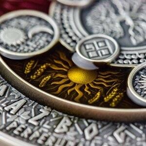 Dropshipping kopie münze Super schöne Niue 2020 Alte Kalender 4 Kyrillischen Kalender 2 Unzen Hohe Relief Silber Münze