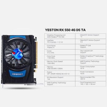 Yeston Radeon RX 550 GPU 4GB GDDR5 128bit Gaming Desktop computer PC Video Graphics Cards support DVI-D/HDMI2.0B PCI-E 3.0 1