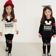 Комплекты одежды для девочек с изображением Минни и Микки Мауса, комплекты одежды для девочек г. Топы с героями мультфильмов+ штаны, костюм из 2 предметов комплекты одежды для детей