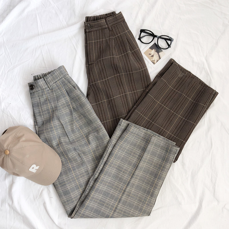 Mooirue Spring Women Pants Plaid High Waist Dropping Feeling High Waist Wide Leg Long Suit Pants