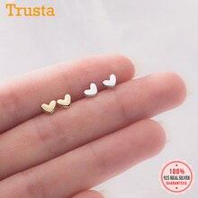 Stud-Earrings Fine-Jewelry Heart Small Women Silver for Daughter Girls Kids Birthday-Gift