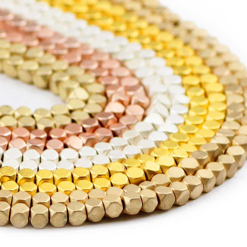 Jhnby Matte 3 Mm Mawar Emas Perak Hematite Manik-manik Segi Square Batu Alam Spacer Longgar Beads untuk Perhiasan Membuat Diy gelang