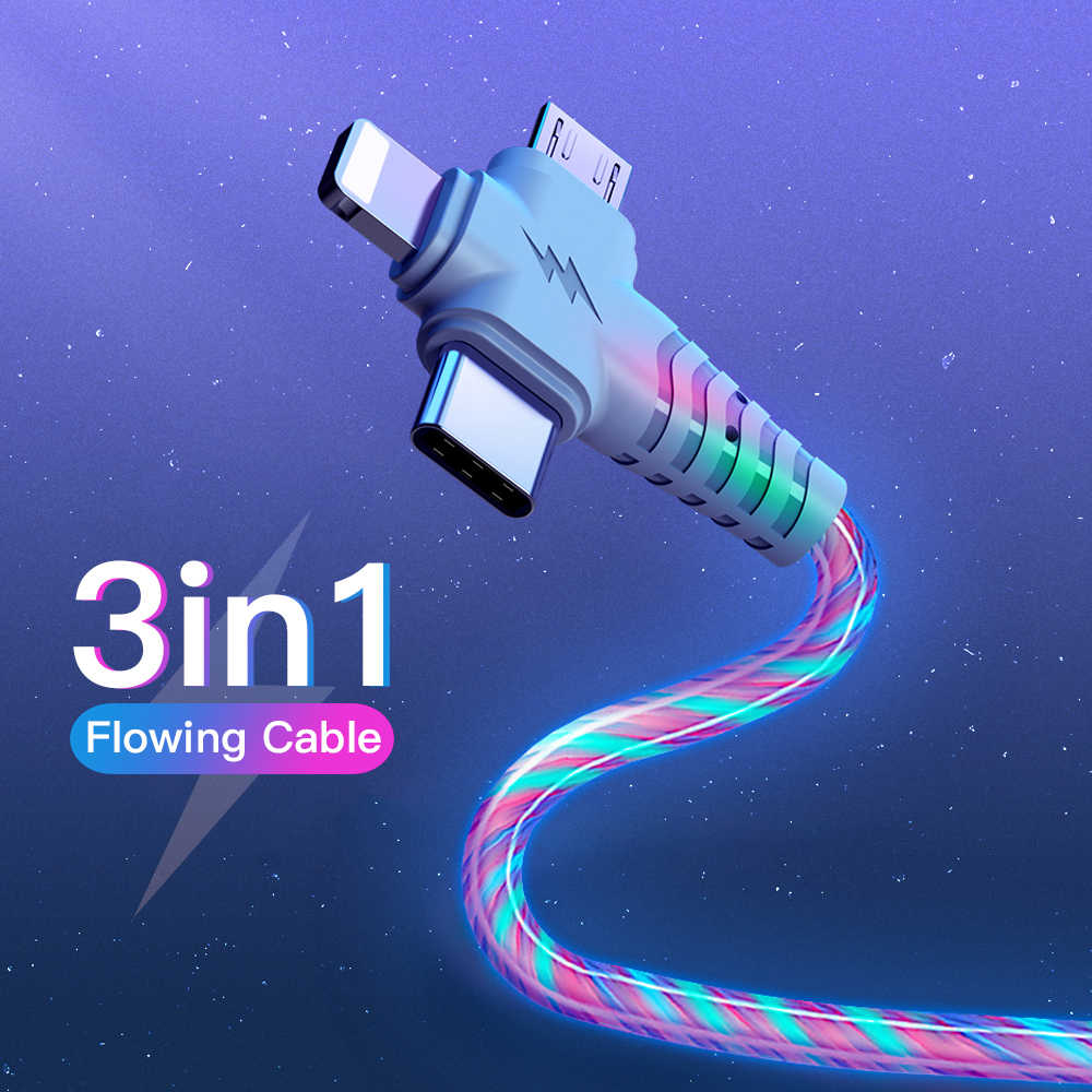 3in1 Fluss Luminous Beleuchtung usb kabel für Samsung 3 in 1 2in1 LED Micro USB Typ C 8Pin ladegerät Draht für iPhone Huawei Xiaomi