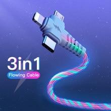 3in1 Fluss Luminous Beleuchtung usb kabel für Samsung 3 in 1 2in1 LED Micro USB Typ C 8Pin ladegerät Draht für iPhone Huawei Xiaomi