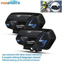 Fodsports Interkom motocyklowy M1 S Pro do kasku, zasięg 2000 m, hełmofon dla motocyklistów, obsługuje do 8 uczestników rozmowy, wodoodporny zestaw słuchawkowy do rozmów grupowych, Bluetooth, 2 sztuki