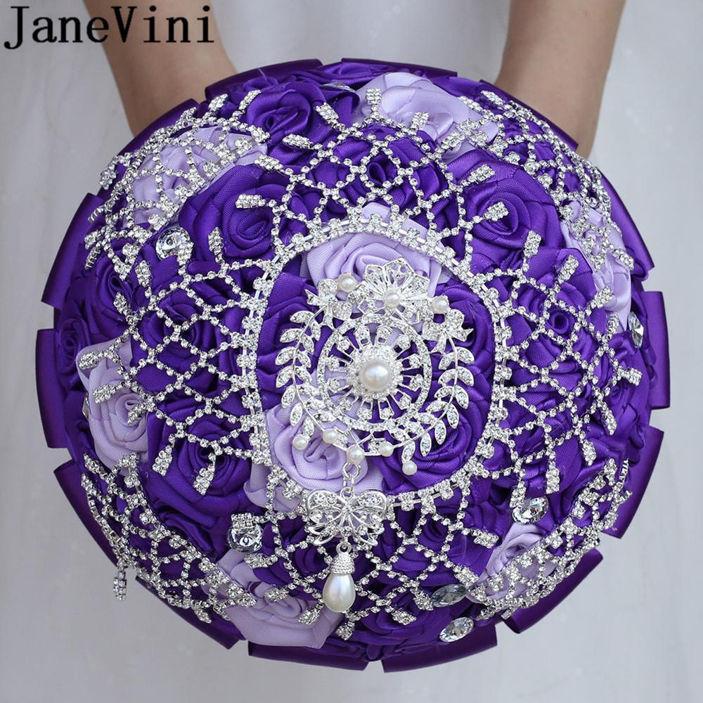 JaneVini BlingBling Crystal Wedding Bouquet Beaded Rhinestones Navy Purple Burgundy Satin Rose Pearl Bridal Bride Flower Bouquet