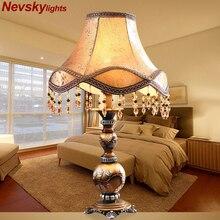 Decoração moderna resina candeeiro de mesa quarto decoração para casa cama decorativa base bronze luminária mesa luz europeu tecido sombra
