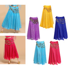 Shining Long Skirt Swing Belly Dance Practice Costumes With Belly Chain 85cm(China)