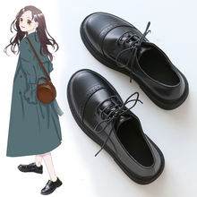 2020 spring new black small shoes female students Korean version of the wild retro British style leather shoes college shoes цена 2017