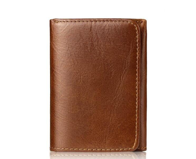 Genuine Leather Calf Skin Vintage Men Short Folder Wallet
