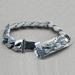 Image 2 - 16mm S925 Sterling Silver Big Dragon Bracelet Man Thai Silver Vintage Exquisite Dragon Chain Bracelet Male Jewerly Gift