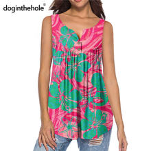 Женская блузка без рукавов doginthehole гавайская Блузка с узором