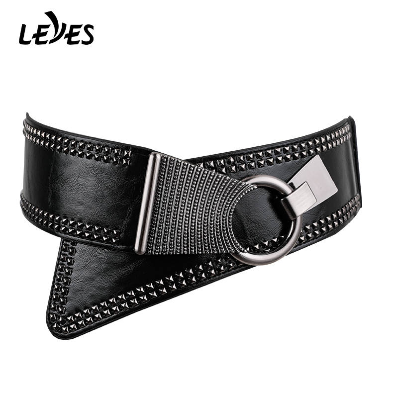 Designer Vintage Punk Belt For Women Ring Buckle Rivet Decorative Retro Leather Belts Decorative Rivet Wide Elastic Waist Strap