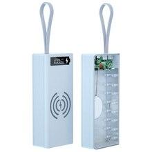 Detachable QC3.0 PD LCD Display DIY 16x18650 Battery Case Power Bank Shell 5w/10W Wireless Charging Box