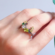 Lovely Olivine Multi color Ring Cute Jewellery Nice Jewelry Irrecgular rings for girl