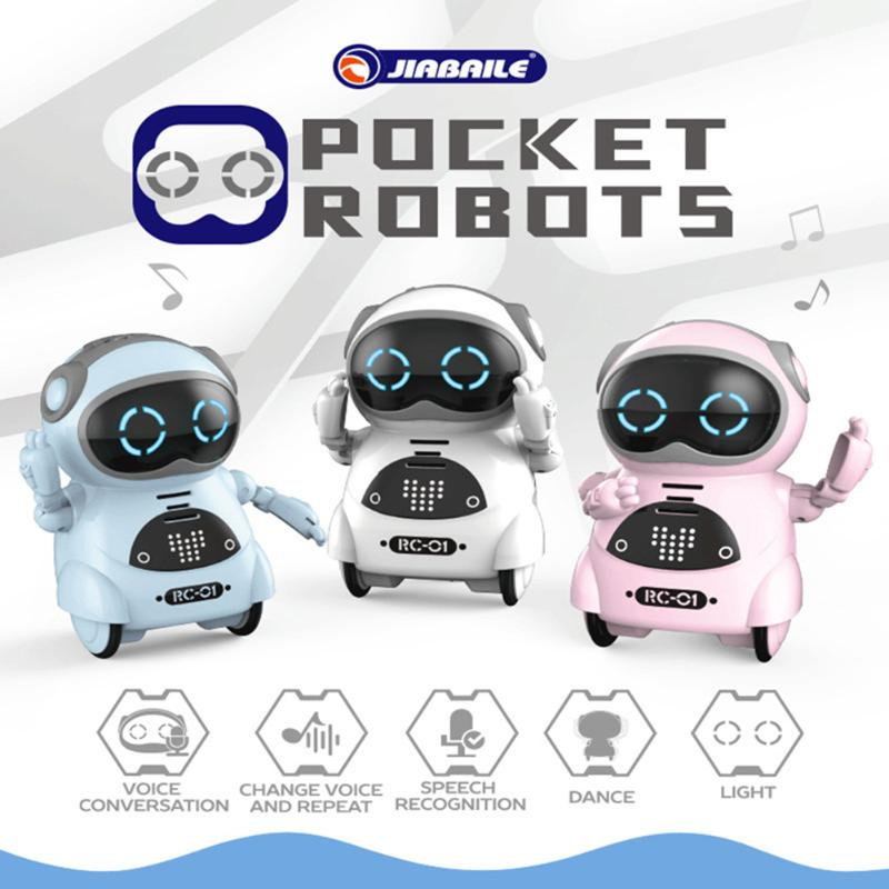 Mini Pocket Robot Electric Music Sound Light Interactive Educational Toy For Kid Boy Girls Gift Electronic Components