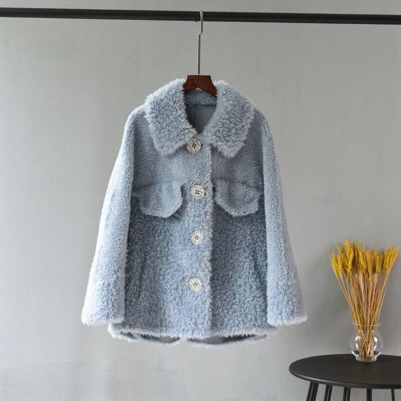 OFTBUY Vintage Pink Parka Winter Jacket Women Real Fur Coat 100% Woven Wool Teddy Polar Fleece Bear Plush Outerwear Streetwear