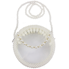 INS HOT Pearl  Handmade Beaded Woven Bag Acrylic Transparent Fashion Purse Diagonal Evening Wedding Banquet purse