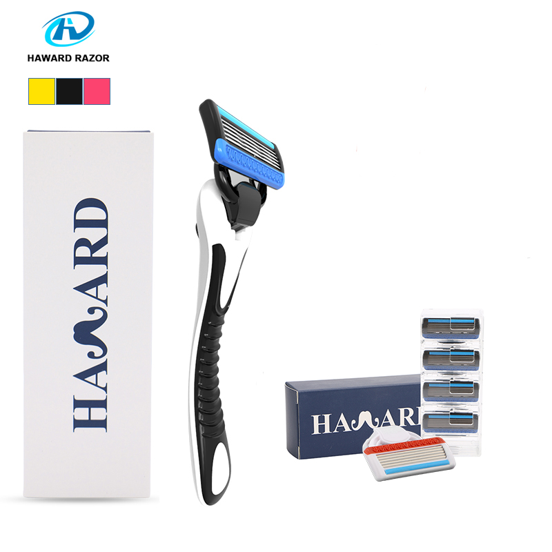 Haward <font><b>Razor</b></font> Professional Shaving <font><b>Razor</b></font> Men's Manual Shaver (<font><b>6</b></font> -Cartridges 5-layer Replacement <font><b>Blade</b></font>)For Shaving & Hair Removal image