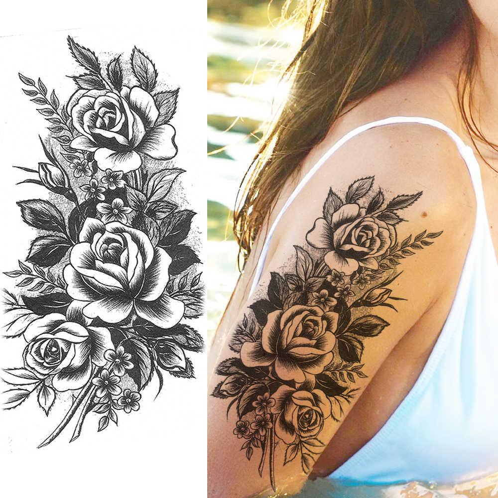 Creative Flower Temporary Tattoo Realistic Fake Pencil Sketch Rose Tatoo Paper For Women Girl Fashion Body Drawing Art Arm Tatoo Aliexpress