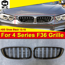 For BMW 4-series F36 4 door Hard top 2-Slat Front Grills ABS Gloss Black 1 Pair 420i 428i 430i 440iXD Kidney Grille 13-18