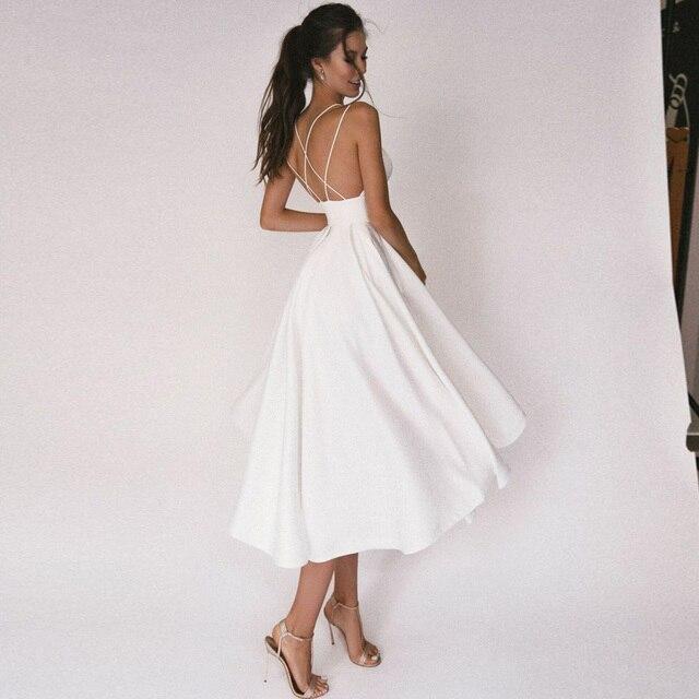 Sexy Short Wedding Dress Thin Straps Criss Cross Simple V Neck Satin Bridal Dresses A Line Vestidos De Noiva Bride Gown 2