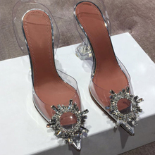 Sexy Pumps Stilettos Crystal-Cup Pvc Sandals Summer Shoes Clear High-Heel Pointed Transparent