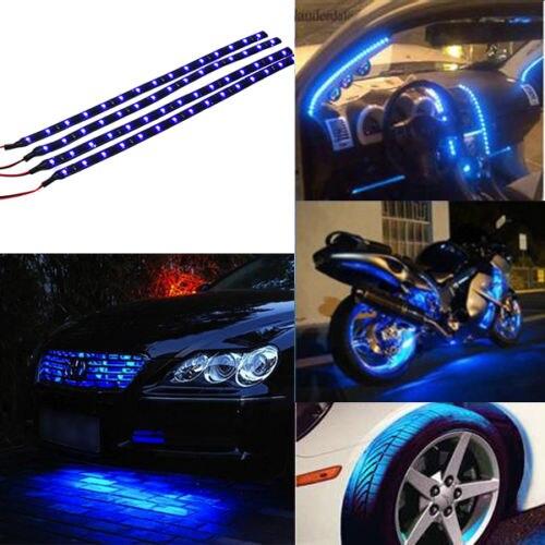 4PCS/SET 12V 15 LED 30CM Car LED Strip Vehicles Grille Decor Light Soft Waterproof Strips Car Styling Decoration Car Accessories