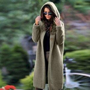 Image 3 - Длинный женский кардиган, свитер больших размеров, однотонное женское трикотажное пальто с капюшоном на плоской подошве, женский кардиган