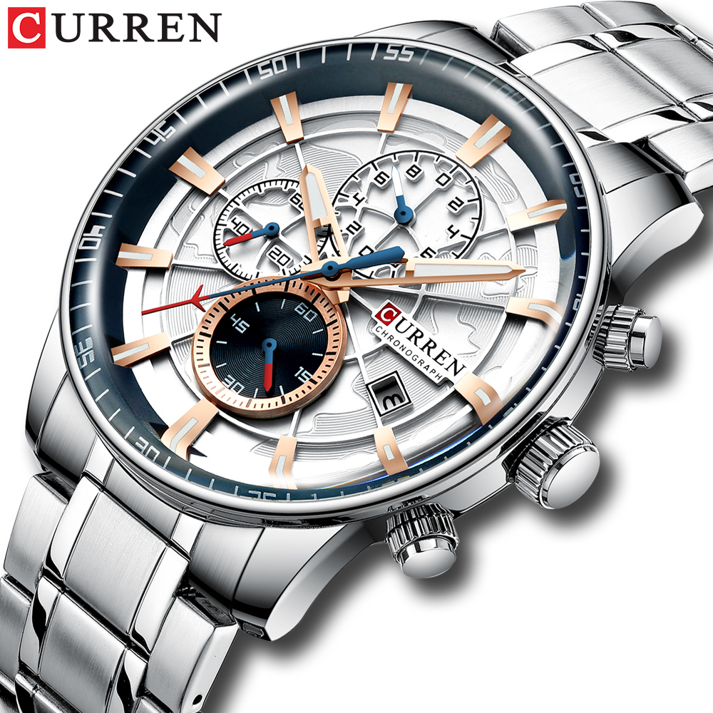 New CURREN Brand Men Watches Chronograph Quartz Watch Men Stainless Steel Waterproof Sports Clock Watches Business reloj hombre(China)