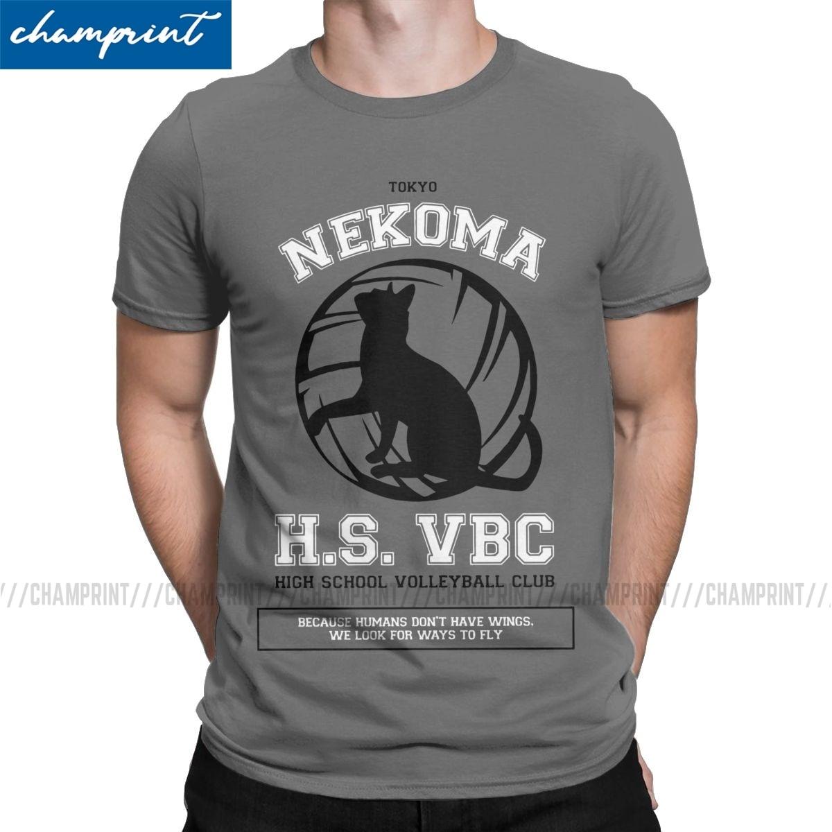 2019 Fashion Nekoma HS VBC Team T-Shirts Men T Shirts Haikyuu Anime Volleyball Manga Short Sleeve Tees Graphic Printed Clothes