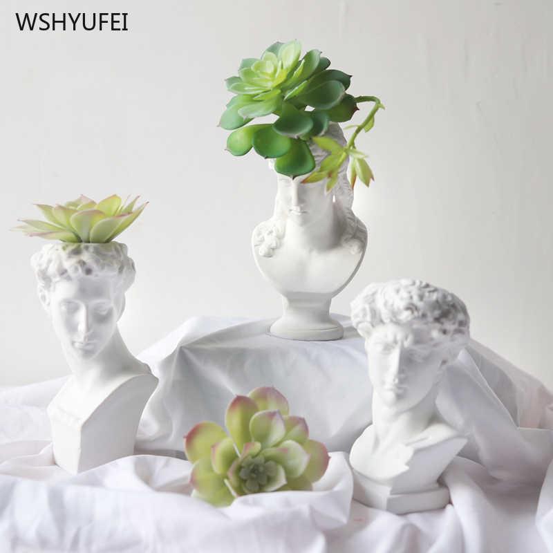 1Pcs Bianco Vaso in Resina Imitazione Gesso David Testa Vaso di Fiori Carattere Xiaowei Statua Fiore Inserita Decorazione Della Casa Ornamenti