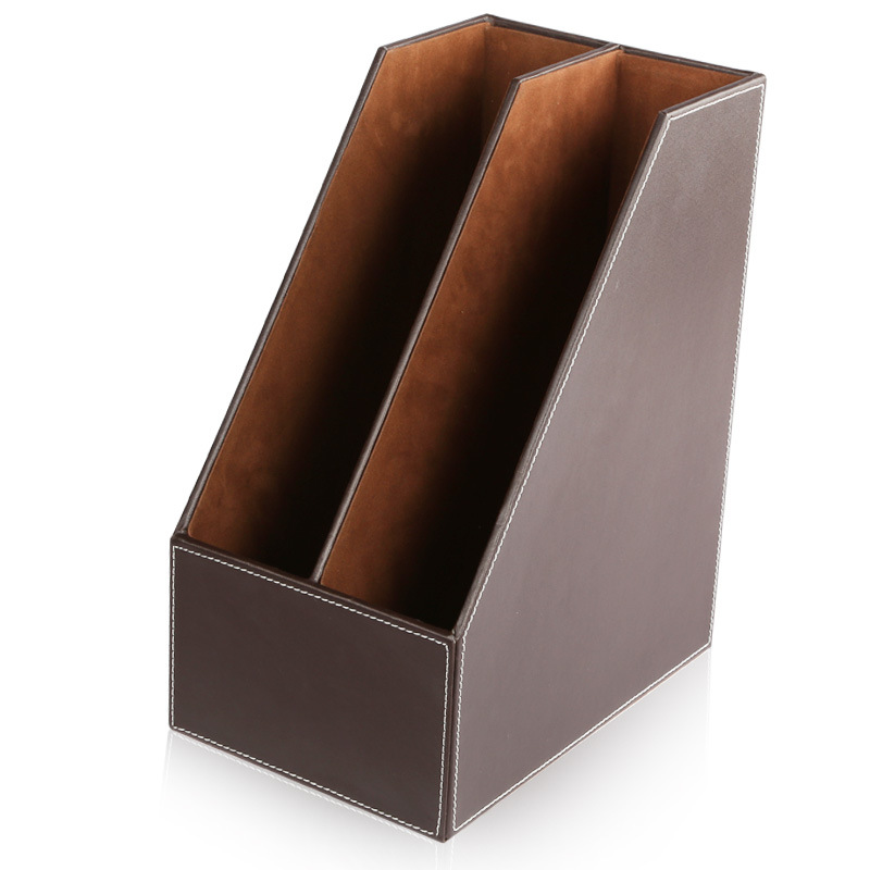 Top qualité en cuir bureau Magazine organisation/stockage fichier plateau Information fichier boîte de stockage personnalisable en gros