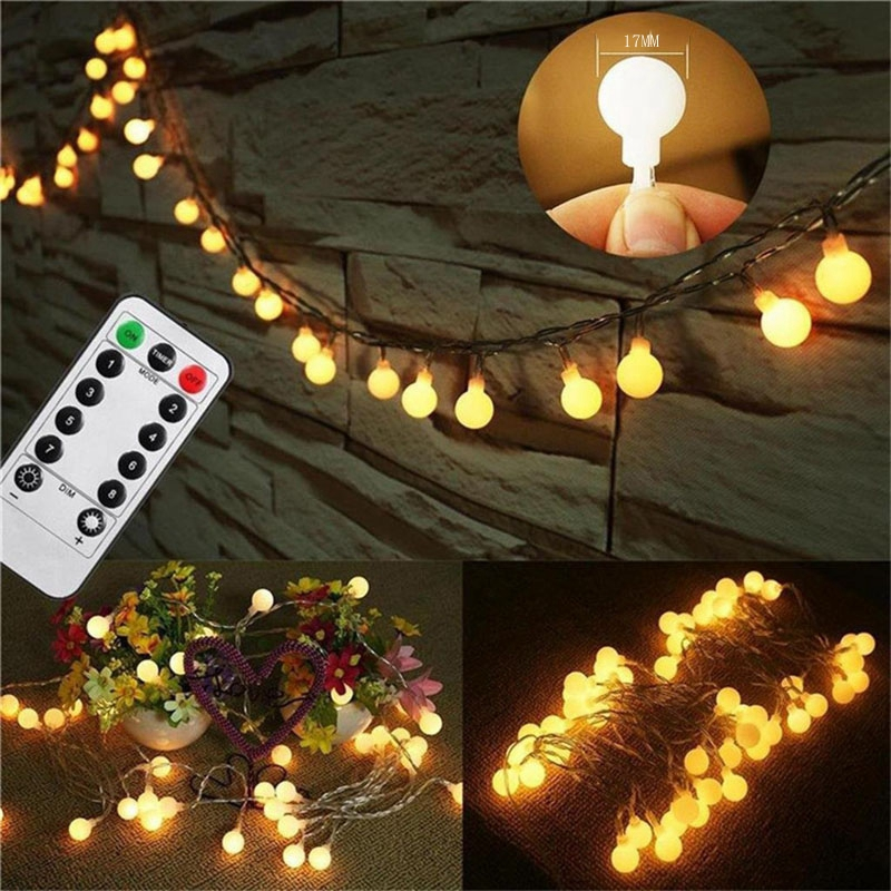 USB LED Fairy Garland String Lights LED Ball Fairy Lights Waterproof Christmas Party Outdoor Remote Control Wedding Lights