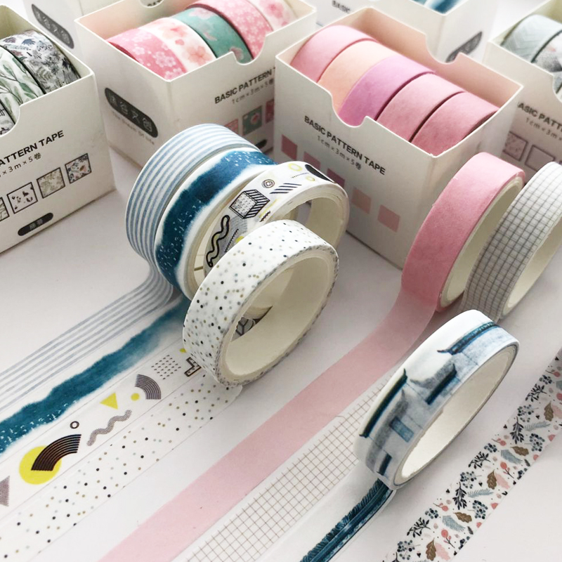 5pcs Basic Pattern Washi Tape Set Pink Green Color Dots Line Grid 10mm Adhesive Masking Tape Journal Diary Album Stickers A6361