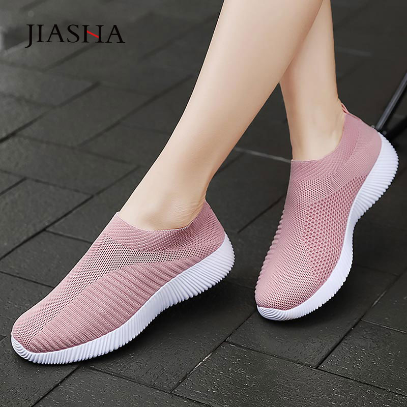 Sneaksrs Women Shoes 2020 Fashion Knitting Breathable Walking Shoes Slip On Flat Shoes Comfortable Casual Shoes Woman Plus Size