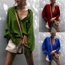 2020 Women Fashion Deep V-Neck Satin Blouse Casual Solid Silk Long Sleeve Office Ladies