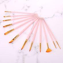 12 sztuk pędzle malarskie cienkie nylonowe włosy okrągłe Filbert Angel płaskie pędzle narzędzia tanie tanio