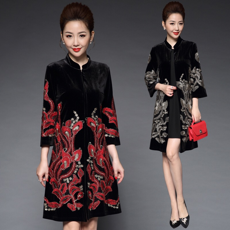 Trench-Coat Velvet Embroidery Spring-Fall Loose Black Womens 5xl Flower Red 6xl for Golden