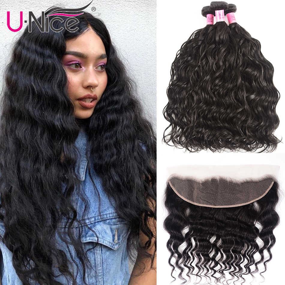 Unice Hair Brazilian Natural Wave 13x4 Lace Frontal Closure With 3/4 PCS 100% Human Hair Extensions Brazilian Hair Weave Bundles