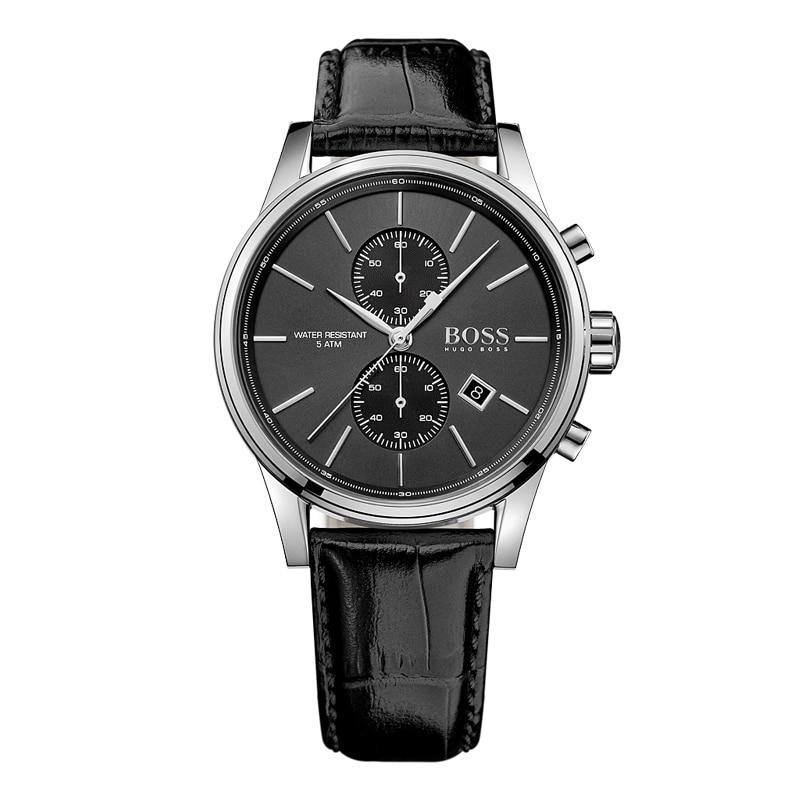 BOSS Germania orologi degli uomini di lusso di marca di Modo di affari retrò multi-funzione Cronografo vigilanza della cinghia di Cuoio relogio masculino