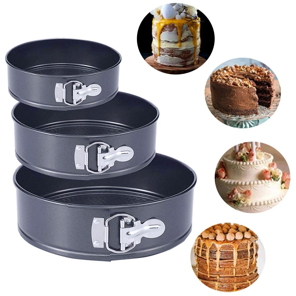 3Pcs Non-stick Oven Springform Pan Round Cake Bakeware Leakproof Baking Tray