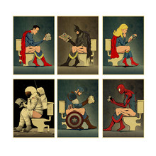 Vintage Superhero Batman Astronaut Toilet Cartoon Print Posters and Prints Bathroom Decorative Wall Art Canvas Mural