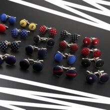 Роскошные бриллиантовые запонки, круглая плетеная бижутерия для бизнеса, свадьбы, вечеринки, в горошек, из полиэстера, в полоску, запонки, подарок